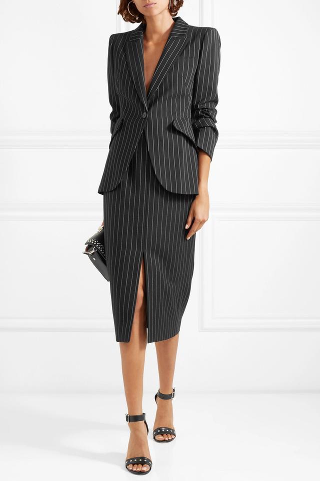 Alexander McQueen Pinstriped Wool-Blend Pencil Skirt