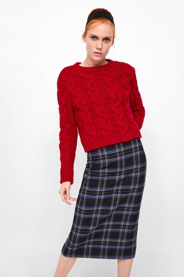 Zara Plaid Pencil Skirt