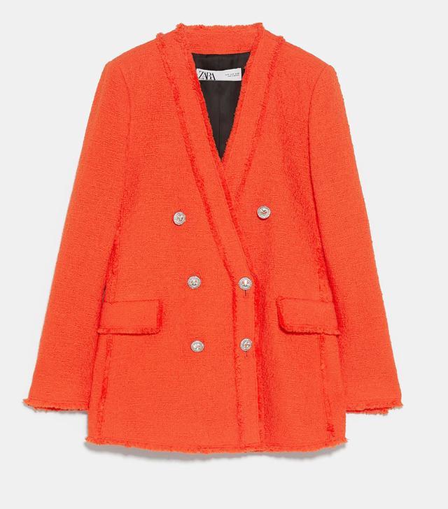 Zara Jewel Button Tweed Jacket