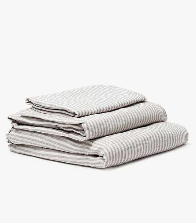 Queen Linen Sheet Set Striped