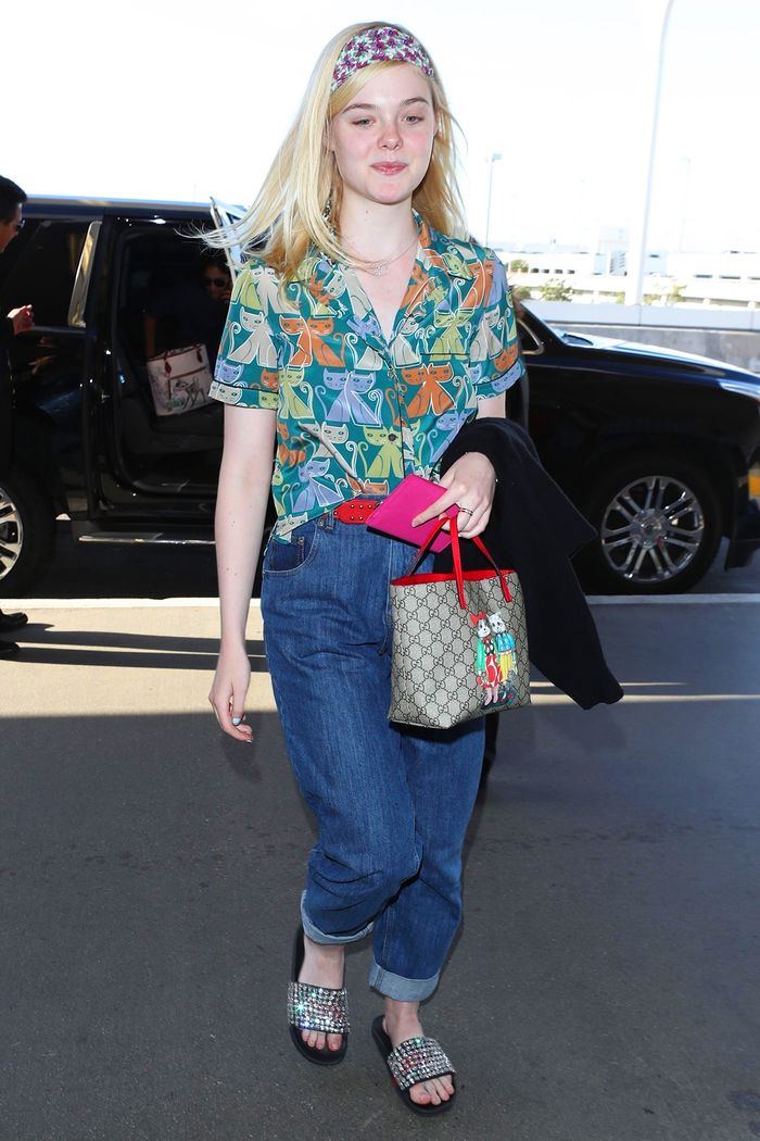 07401364a Pinterest. Photo: not another byline@backgrid / BACKGRID. On Elle Fanning: Gucci  children's bag and Web Slide With Crystals ...