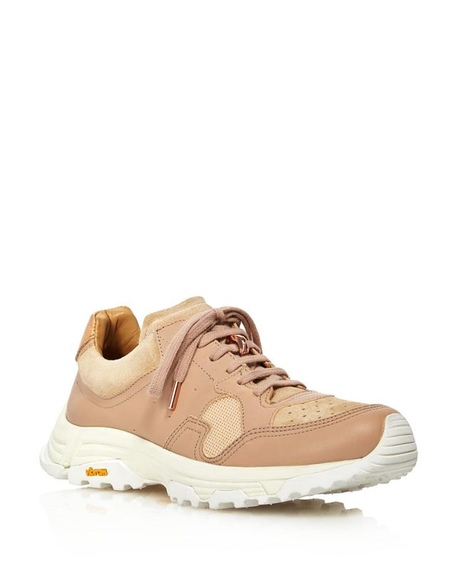 Pairs In Paris Round-Toe Lace Up Leather & Suede Dad Sneakers