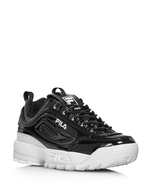Fila Disruptor Ii Round Toe Patent Leather Platform Dad Sneakers