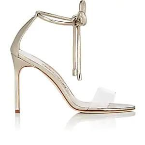 Manolo Blahnik Estro Leather & PVC Ankle-Tie Sandals