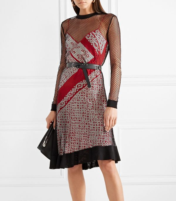 Kleber Layered Fishnet And Printed Silk Dress