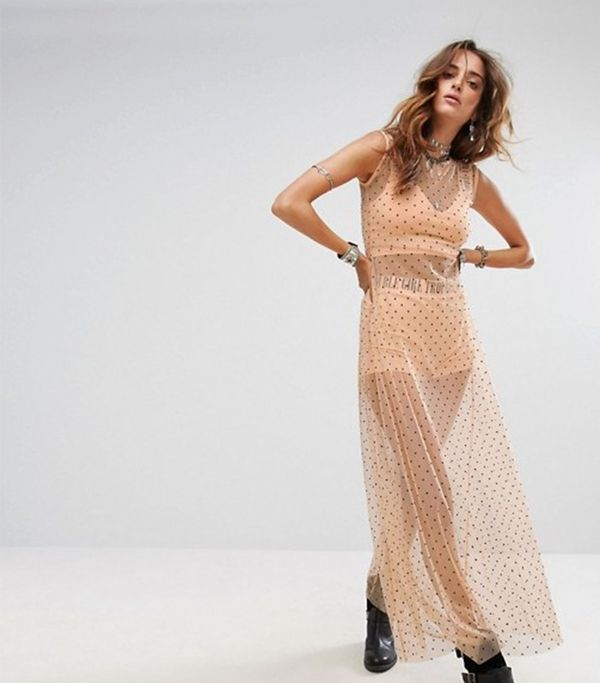Festival Sheer Spotty Maxi Dress With Bralette & Shorts