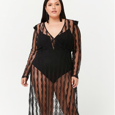 Sheer Lace Surplice Maxi Dress