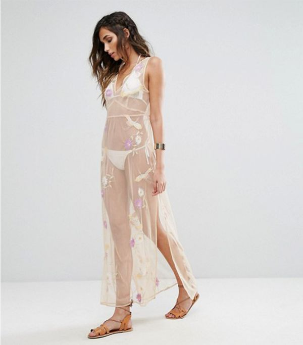 Sheer Embroidered Maxi Dress