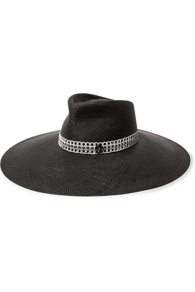 Pina Embellished Crochet-Trimmed Straw Hat