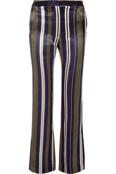 Striped Satin-Twill Straight-Leg Pants