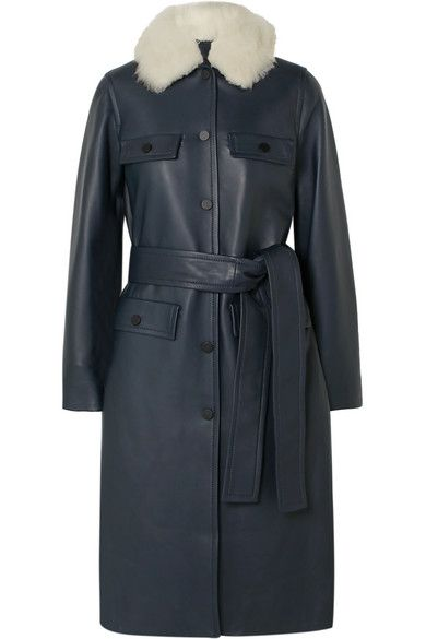 Yves Saloman Belted Shearling-Trimmed Leather Coat