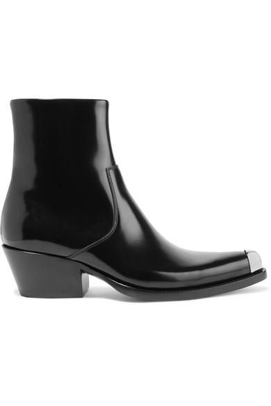 Tex Chiara Metal-trimmed Glossed-leather Ankle Boots