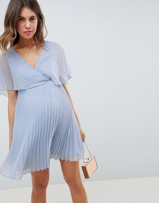 d2e27fbed16 ASOS Design Maternity Mini Dress With Pleat Skirt and Flutter Sleeve
