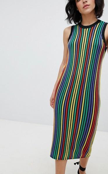 DESIGN knitted midi dress in bright stripe