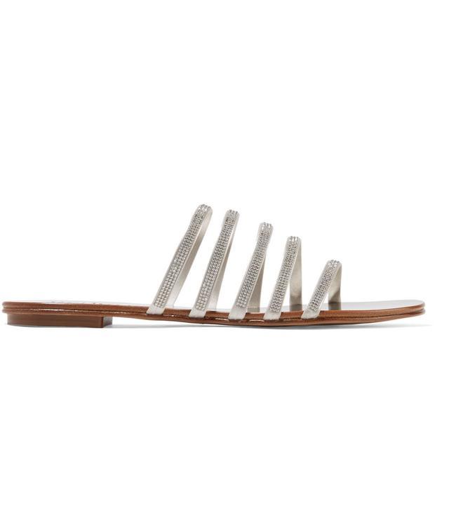 Sarah Swarovski Crystal-embellished Satin And Metallic Leather Sandals