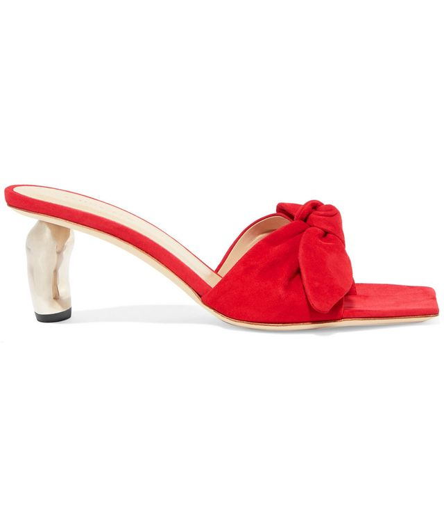 Lottie Bow-embellished Suede Mules