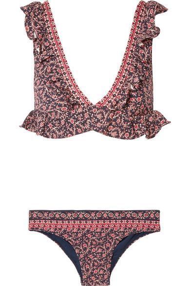 Aurora Ruffle-trimmed Floral-print Bikini