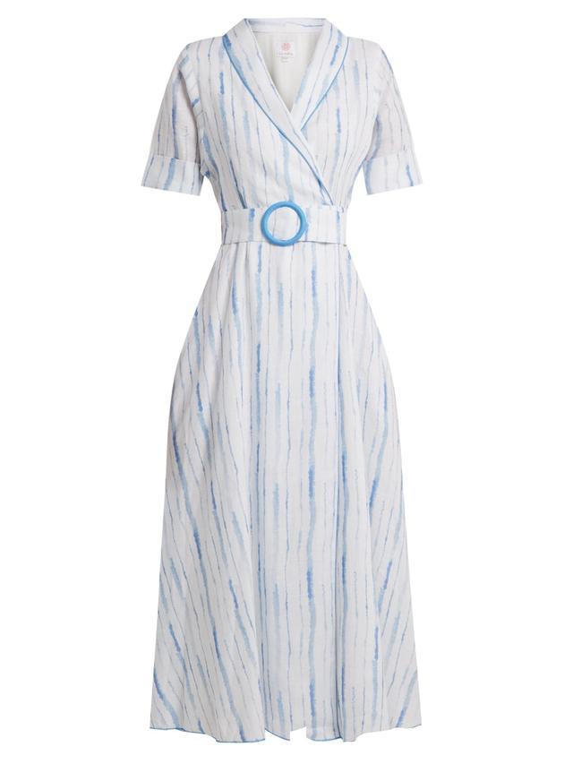 Shawl-collar striped linen dress