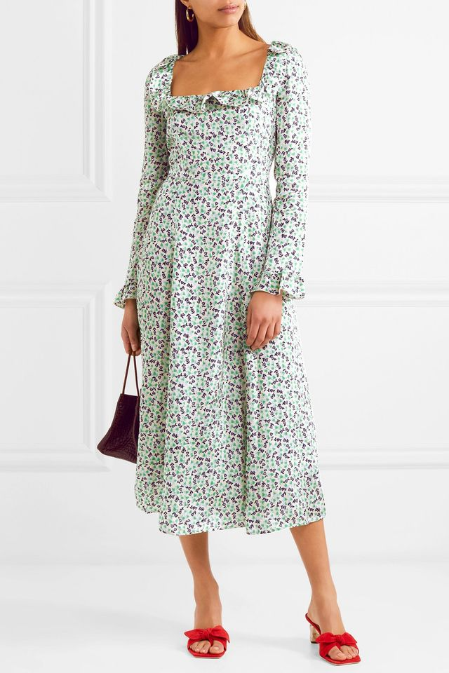 Ruffle-trimmed Floral-print Voile Midi Dress