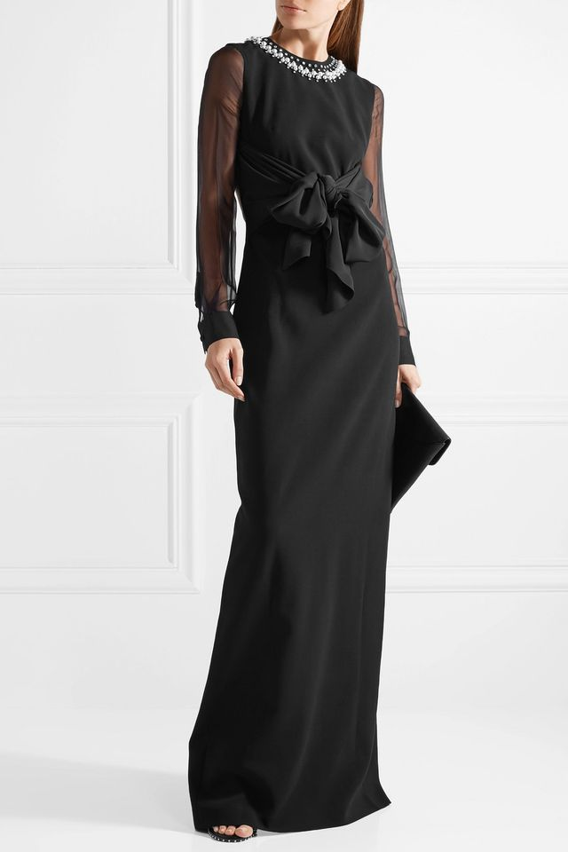 Embellished Silk And Tulle-trimmed Stretch-cady Gown