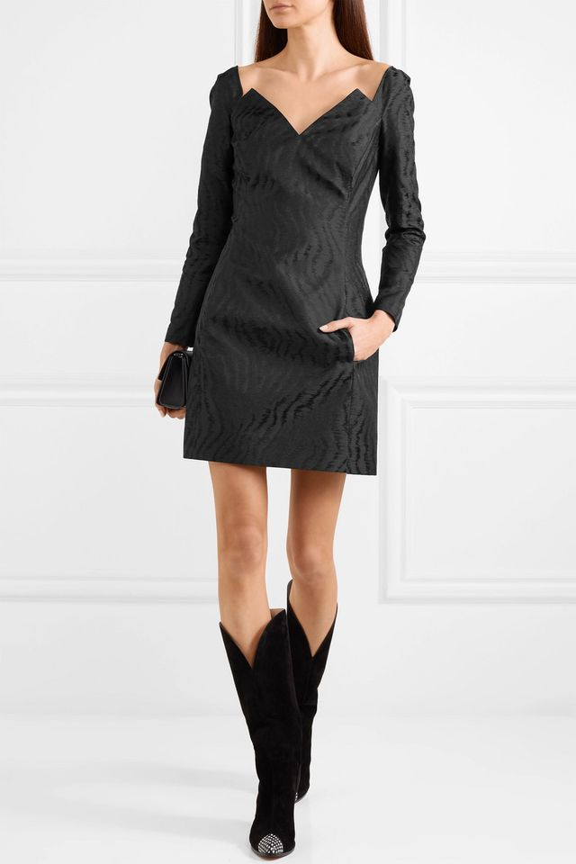 Moire-jacquard Mini Dress