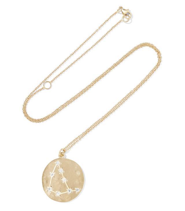 Capricorn 14-karat Gold Diamond Necklace