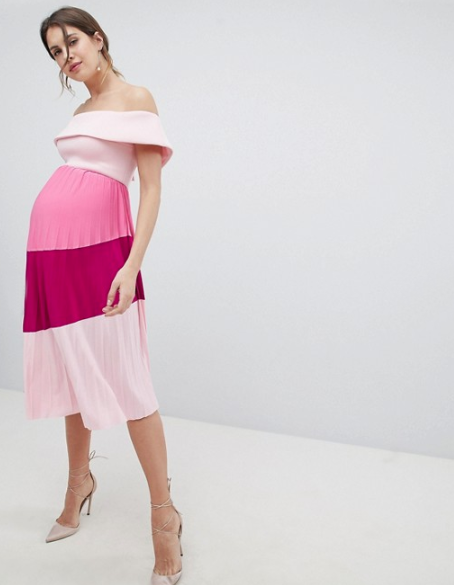 ASOS Maternity Scuba Bardot Color Block Pleated Midi Dress