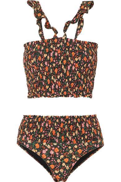 Ipanema Shirred Floral-print Bikini