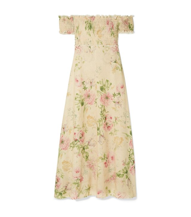 Iris Off-the-shoulder Floral-print Linen-blend Maxi Dress