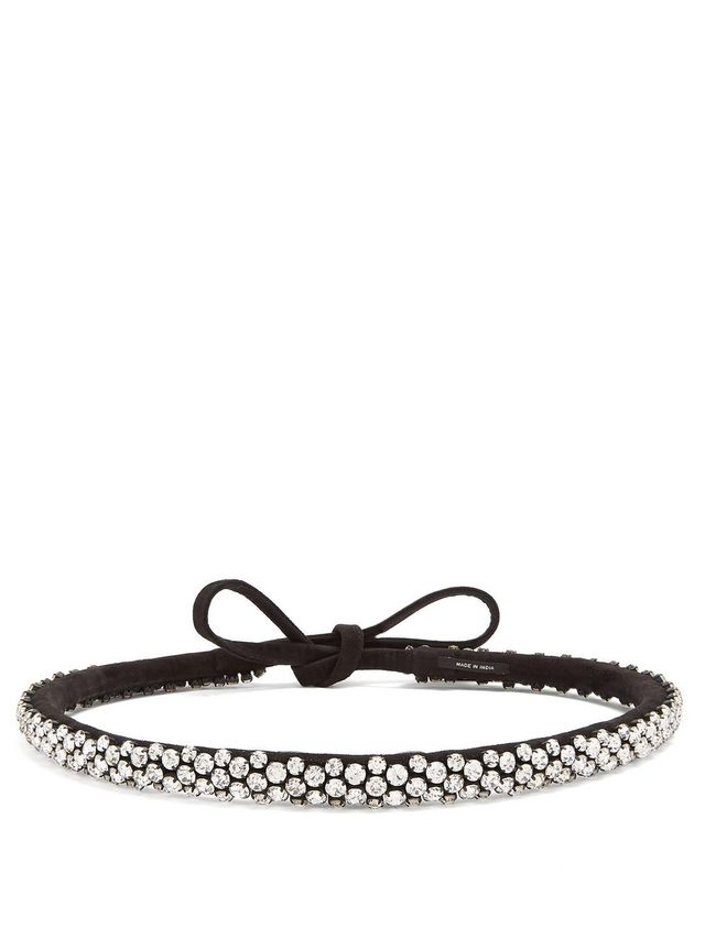 Lush Stuff crystal-embellished suede belt