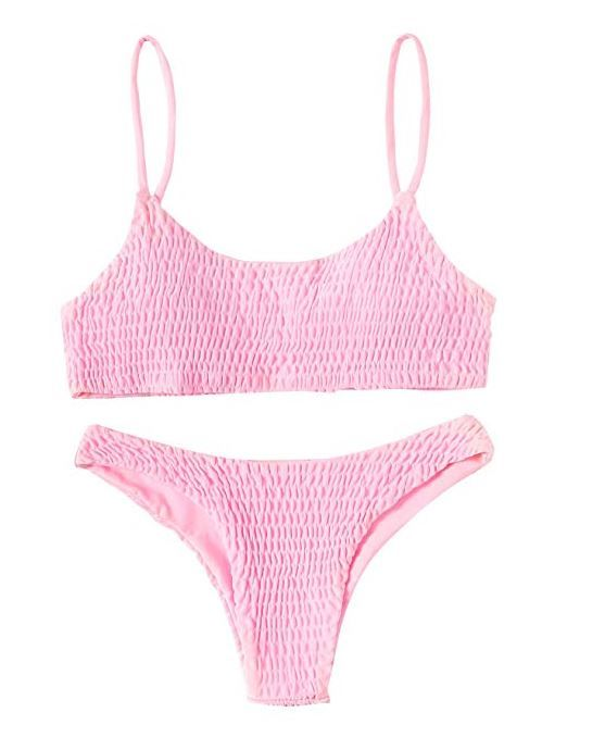SOLYHUX Women's Two Piece Solid Color Shirred Bikini Set Swimsuit