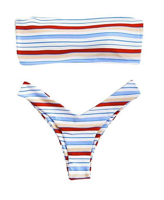 SOLYHUX Women's Ladder Cut Out Back Striped Bandeau Bikini Set Swimsuit