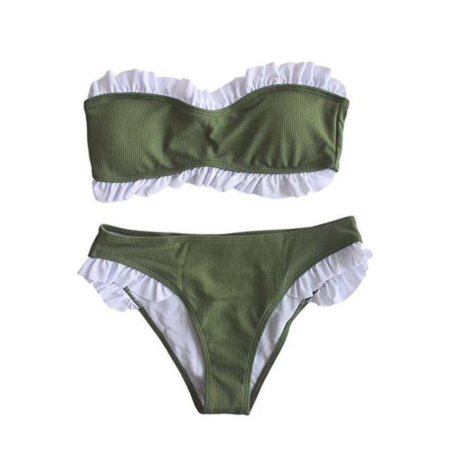 IMAYIO Women's Ribbed Bandeau Bikini Set