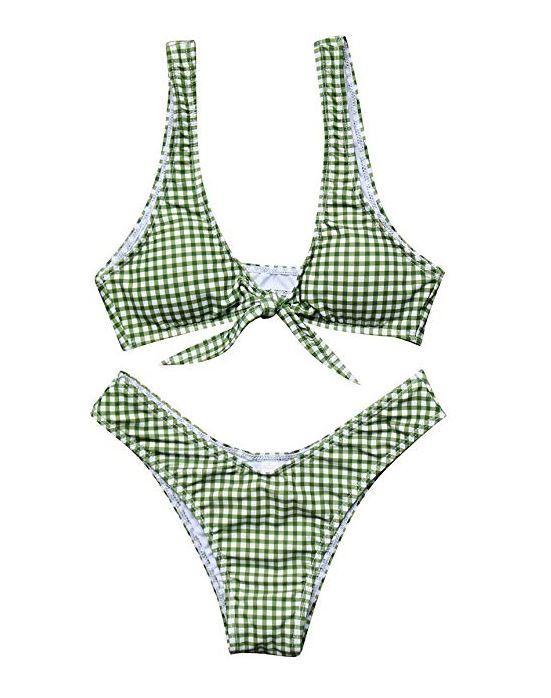 Women Tie Knot Front Gingham Printed Bikini MOSHENGQI