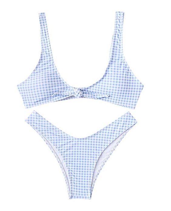SOLYHUX Women's Knot Front 2PCS Push up Bikini Set