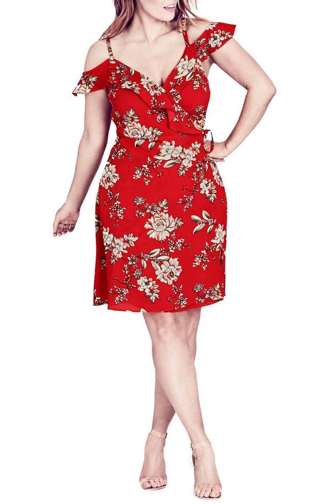 Wild Floral Cold Shoulder Dress