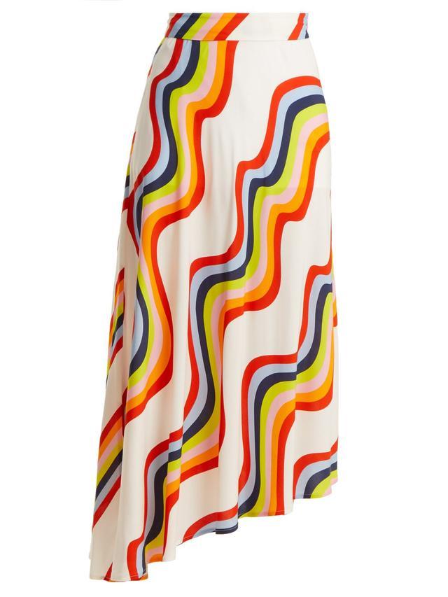 Wave-print midi skirt
