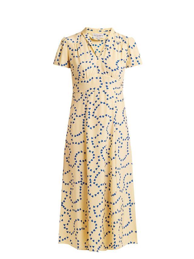 Morgan heart-print silk long dress