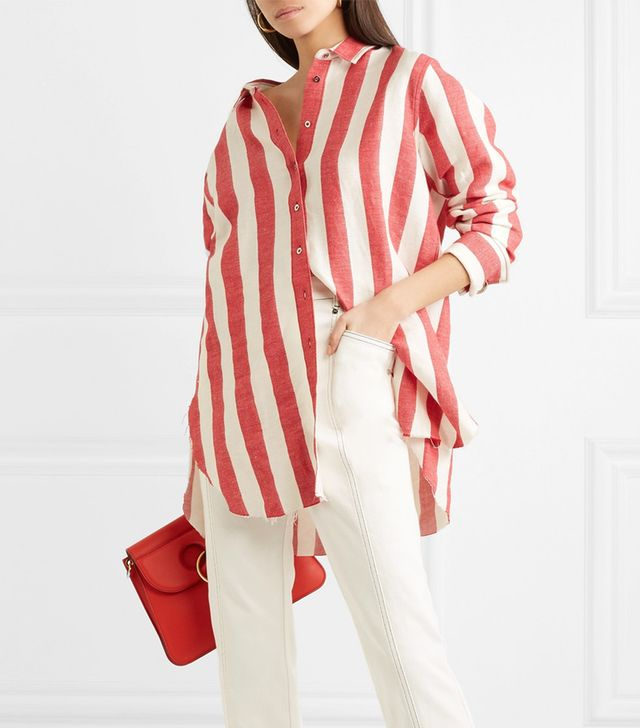 Oversized Striped Linen and Cotton-Blend Shirt