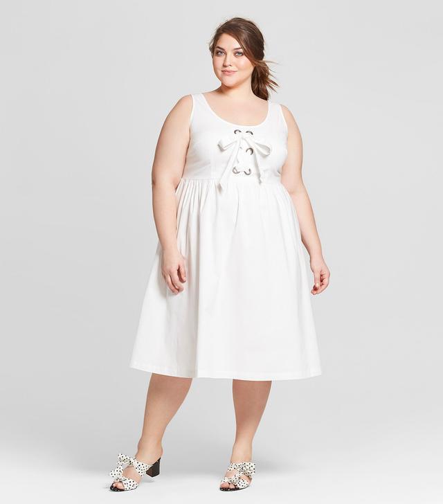 Sleeveless Lace-Up Tank Dress