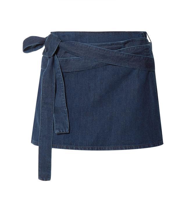 Leather-Trimmed Denim Mini Skirt