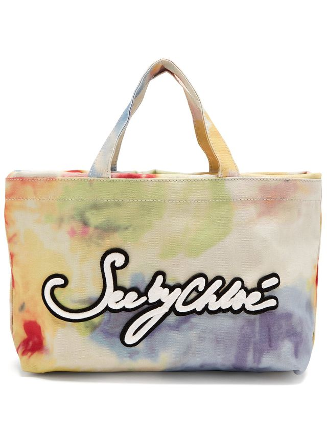 See by Chloé Logo-Embroidered Tie-Dye Canvas Tote