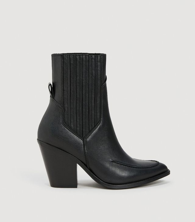 Mango Leather Cowboy Ankle Boots