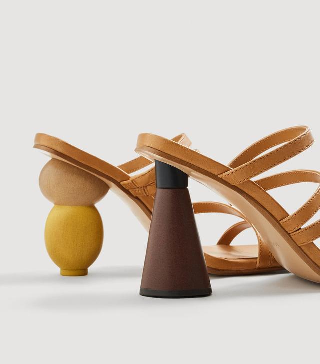 Mango Geometric Heel Leather Sandals