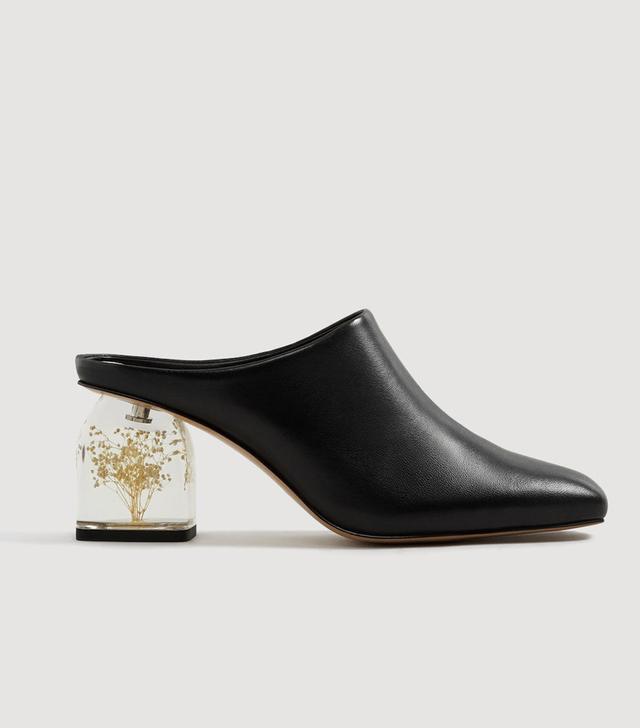 Mango Flowered Heel Leather Shoes