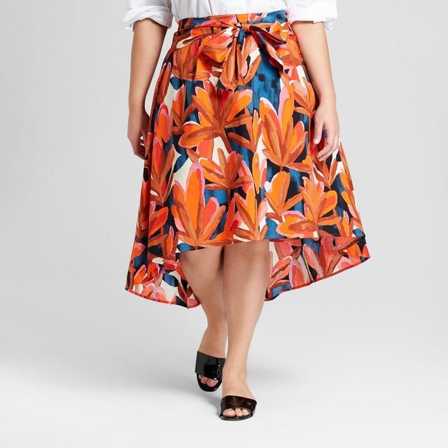 Plus Size Palm Print Tie Front Midi Skirt