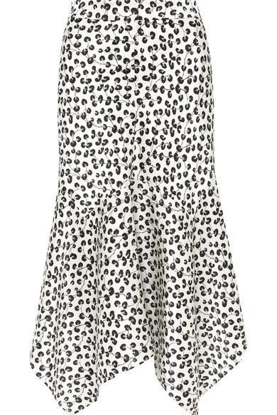 Dufort Asymmetric Printed Silk-satin Midi Skirt