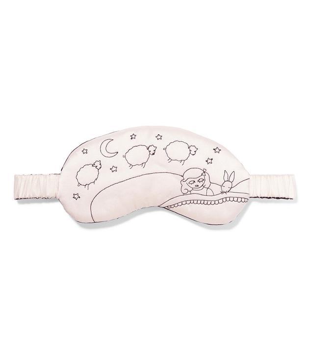 Lanie Embroidered Silk-charmeuse Eye Mask