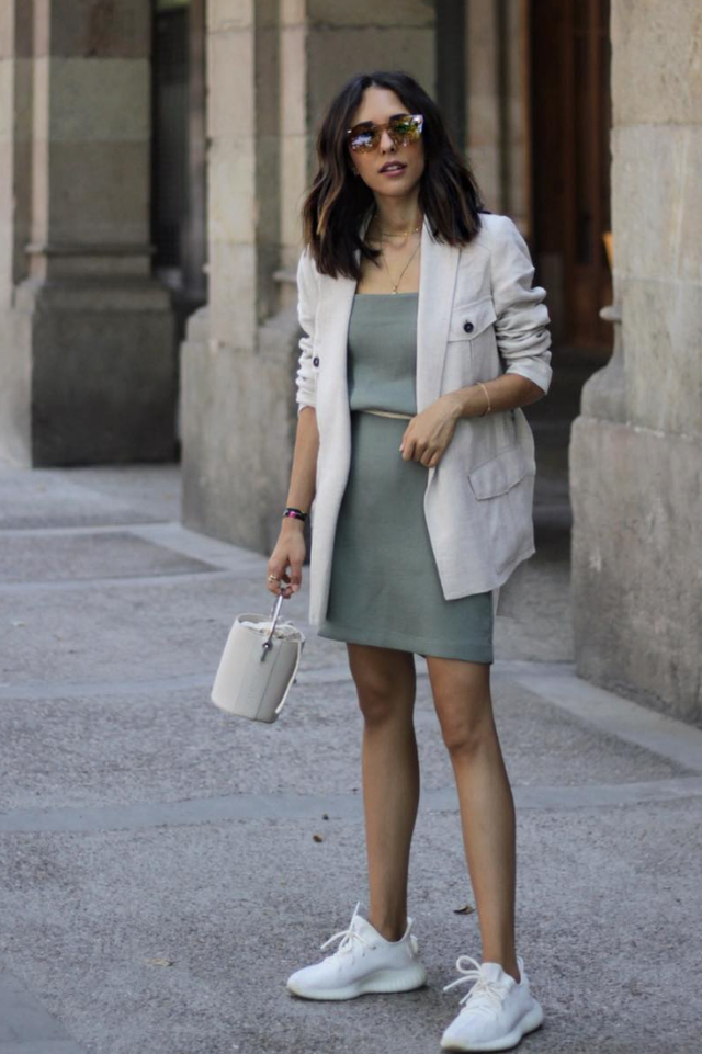 green outfits mini dress khaki blazer