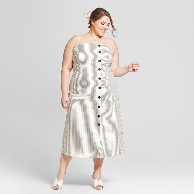 Who What Wear Sleeveless Button-Down Midi Slip Dress